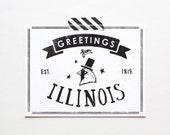 Screenprinted State of Illinois Postcard