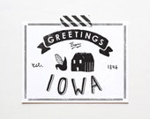 Screenprinted State of Iowa Postcard