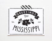 Screenprinted State of Mississippi Postcard