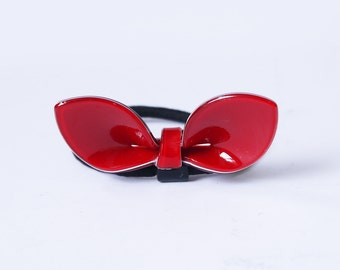 SALE 50% OFF Red Acrylic Bow Hair Ponytail Holder