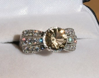 Champagne Quartz Ring with Cz Accents Rhodium Plated Sterling Silver Engagement Ring Size 7
