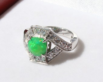 Opal & Cz Art Deco Style Ring