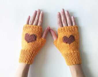 Knit Fingerless Gloves in Mustard Yellow, Chocolate Brown Embroidered Heart, Heart Knit Gloves, Fingerless Mittens, Wool Blend,Made to Order
