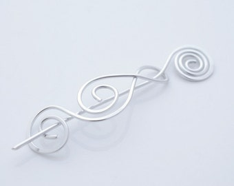 Aluminum, Wire, Elegant, Swirls, Shawl Pin, Scarf Pin, Sweater Brooch, Hair Pin, Light Weight, Hair Accessories, Knitting, Women