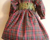 Plaid Holiday Dress, Green Holly Sash