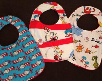 Set of 3 Dr Seuss bibs