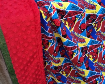 Spider-man minky toddler blanket