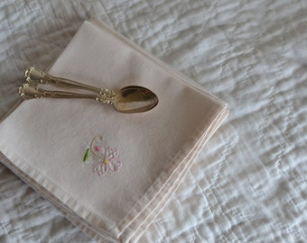 Set of Six Matching Luncheon Napkins with Embroidered Pink Flower