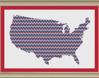 Chevron stripe United States silhouette: cool cross-stitch pattern