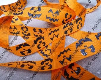"""7/8"""" Jack-O-Lantern Face  - Halloween - Fall  - US Designer Printed Ribbon - 1yd, 3yd or 5 yd"""