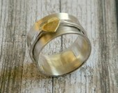 Silver spinning ring, sterling silver spinner ring, fidgeters ring with brass heart ring, modern sterling silver ring, 8mm wide band ring.