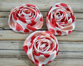 """Valentines Heart Satin Rolled Rosette Flowers - 2"""" - Set of 3 Red and Peach"""