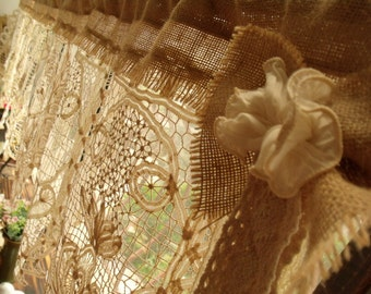 GORGEOUS! ANTIQUE Lace Valance with bow Burlap Curtain SHABBY Rustic Chic Cream