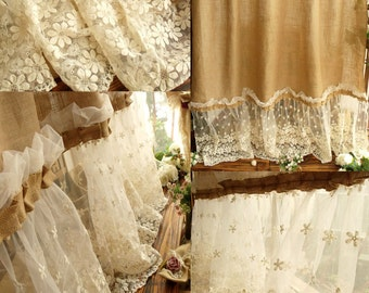 SHABBY *washed Rustic Chic Burlap SHOWER Curtain Lace Ruffles FLOWER French Beach Farmhouse
