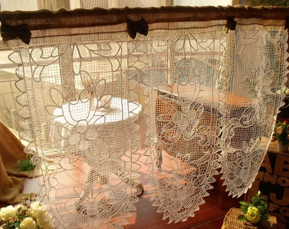 custom white vintage cotton french lace window