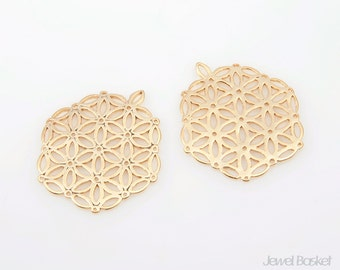 Matte Gold Plated Hexagon Pendant / 23mm x 21.5mm / BMG108-P