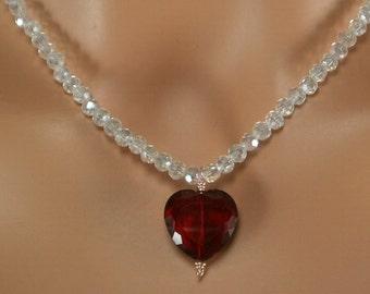 Valentine Crystal Heart Necklace. set.