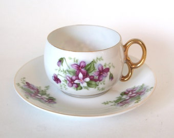 Vintage China Teacup Japan Hand Painted Purple Floral with Gold Sterling China Tea cup - Japan - Mid Century