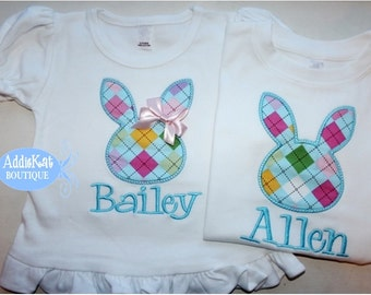 Personalized Matching Brother and Sister Sibling Easter Shirts