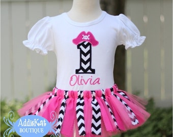 Personalized Girl Pirate Fabric Tutu Birthday Outfit - Hot Pink and Black Chevron