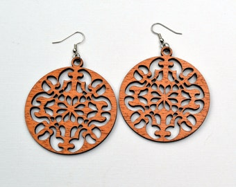 Wood Earrings Large Intricate Round Laser Cut Mahogany