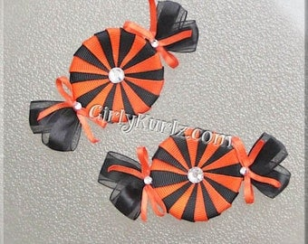Peppermint Candy Hair Clip, Halloween Hair Clips, Halloween Hair Bow, Orange Black Hair Clips