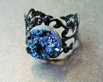 25% OFF SALE Blue Druzy Ring - Druzy Jewelry - Filigree Ring - Shiny Ring - Statement ring - Adjustable ring - Faux Druzy Ring - Silver druz