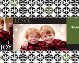 Snowflake Joy Love Peace holiday card