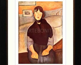 Amedeo Modigliani, Framed Giclees, 'La fille du peuple'.