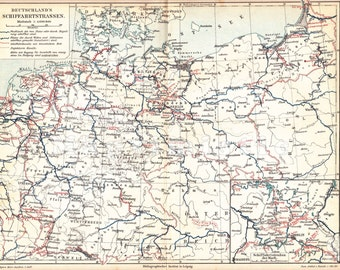 1896 Shipping Routes and River Transport in Germany at the end of the 19th Century Antique Map