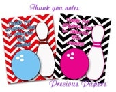 Digital bowling thank you notes You print Bowling Birthday Party thank you notes chevron bowling thank you notes Download within 24 hours
