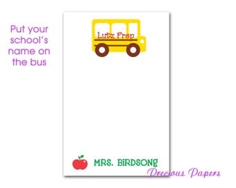 School bus note pads Personalized Teacher note pads Personalized teacher gifts teacher note pads bus driver gifts