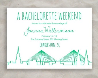Charleston Bachelorette or Save the Date Invitation