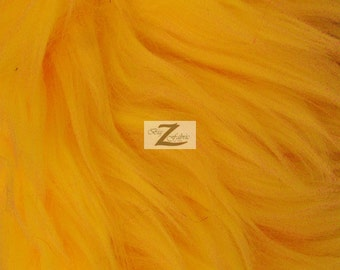 """Solid Shaggy Faux Fur Fabric - GOLDEN YELLOW - Sold By The Yard 60"""" Width"""