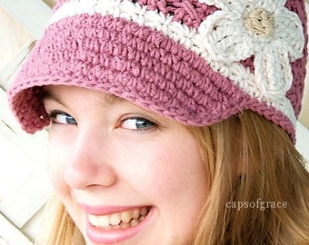 Crochet Hat Pattern Womans Daisy Visor Beanie PDF 150 Newborn to Adult  Photography Prop Instant Download