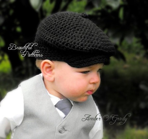 Crochet Hat Pattern Baby Boy Newsboy Cap Cabby Beanie Hat Bow