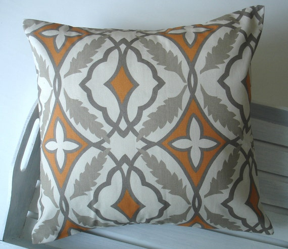 orange pillow orange gray pillow cover 16 x 16 by thepillowco. Black Bedroom Furniture Sets. Home Design Ideas