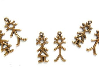 Antique Brass Stick Figure Boy And Girl Charms - 21-56-7