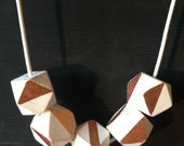 Geometric Copper Necklace. Geometric wooden beads Hand-painted with copper design.