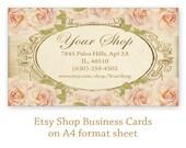 Business cards on Printable Digital collage sheet Printable Download Vintage roses Personalized pre-made business cards - ROSE CARDS