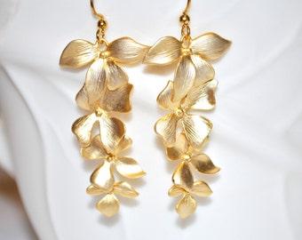 Orchid cascade earrings, gold orchid earrings, orchid earrings, tropical earrings