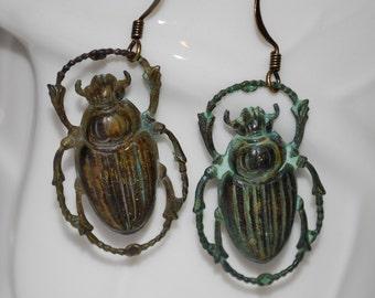 Verdigris scarab earrings, verdigris beetle earrings, beetle earrings, bug earrings, gift