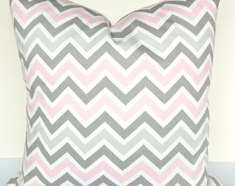 CHEVRON PILLOW Covers Pink Decorative Throw Pillows 18x18 16 20 Gray Baby Pink Chevron Pillows Grey baby Girl Nursery Home and Living