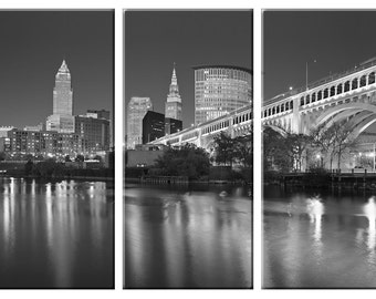 Framed Huge 3 Panel City Skyline Cleveland Giclee Canvas Print - Ready to Hang