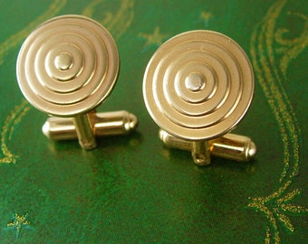 Vintage Hickok USA Concentric Circles Cufflinks Target Geometric Gold Filled Business Birthday Valentines