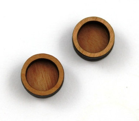 8 Pieces.Circle Bezel Charms - Cherry Wood Laser Cut Bezel -Earring Supplies- Little Laser Lab Sustainable Wood Products