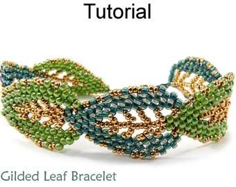 Leaf Bracelet Jewelry Making Tutorial Beading Pattern Russian Leaves Diagonal Peyote Fall Autumn Seasonal Jewelry Beaded Leaves #9576