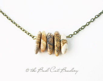 Earth Tone Dagger Stone Bronze Chain Short Necklace