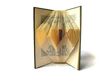 Book art - Altered Book - Folded Book art- Folded Hearts - Mothers day - Wedding decoration - Anniversary - Recycled Book - Eco friendly
