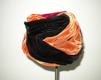 Vintage Designer Multicolor Turban Style Velvet Hat / Miss Mary- New York / Red/Black/Rust 1950's
